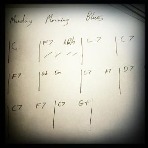 Chord sheet for a nice ten bar blues
