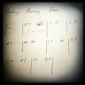 Chord sheet for a nice ten bar blues